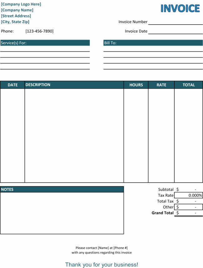 Simple Invoice Template Excel Fresh 5 Service Invoice Templates for Word and Excel