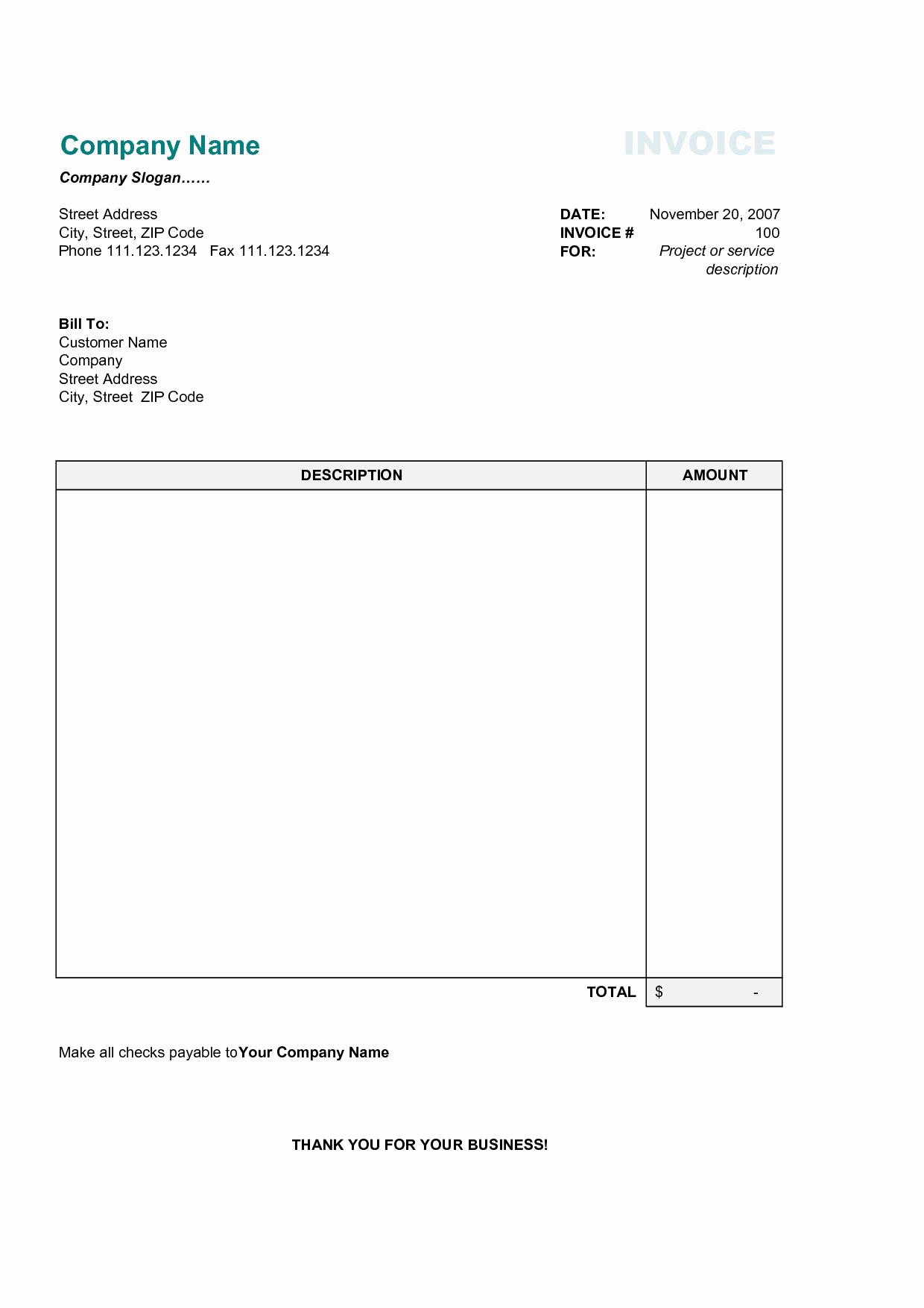 Simple Invoice Template Excel New 17 Best Photos Of Printable Mercial Invoice Sample