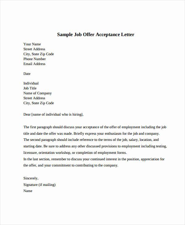 Simple Job Offer Letter Sample Beautiful Job Fer Acceptance Letter 8 Free Pdf Documents