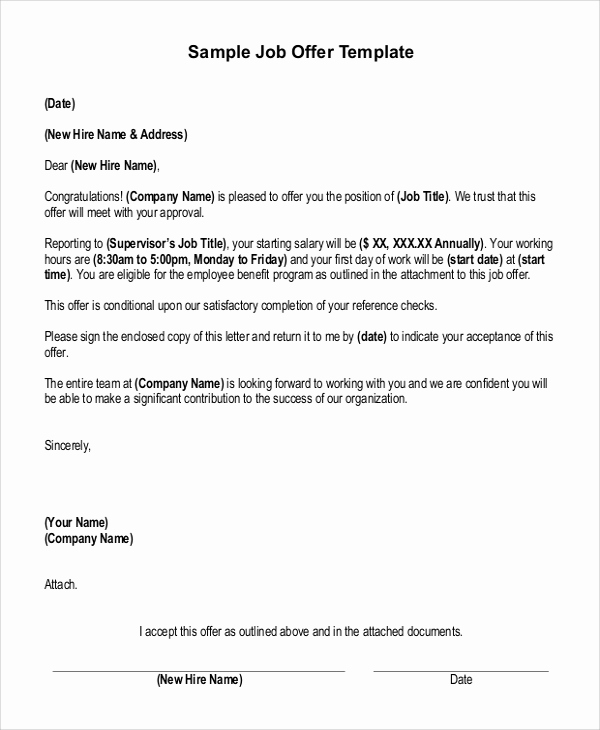 Simple Job Offer Letter Sample Beautiful Sample Job Fer Letter 8 Examples In Word Pdf