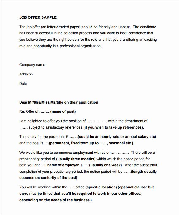 Simple Job Offer Letter Sample Elegant 31 Fer Letter Templates – Free Word Pdf format