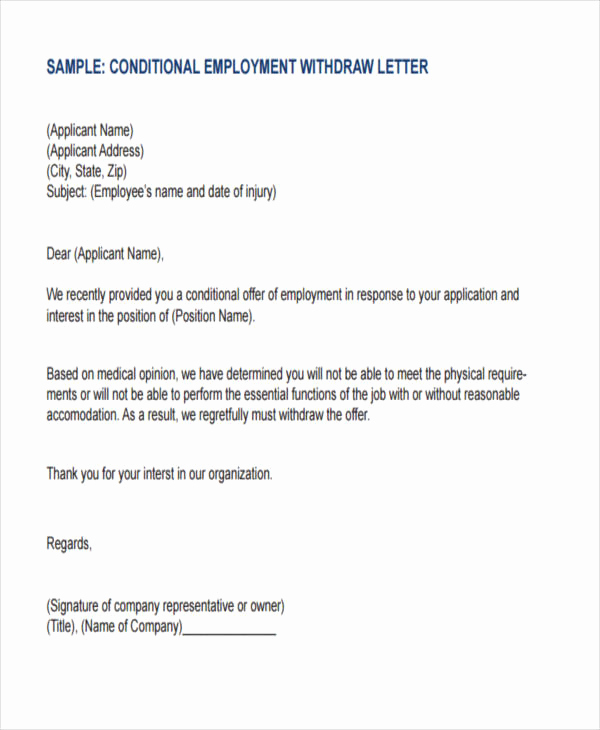 Simple Job Offer Letter Sample Elegant Employer withdraw Job Fer Letter Sample