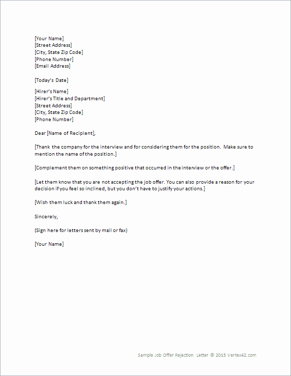 Simple Job Offer Letter Sample Luxury Job Fer Rejection Letter Template for Word