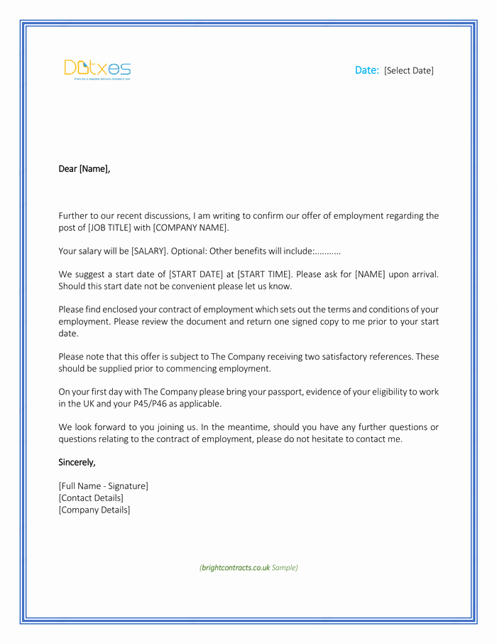 Simple Job Offer Letter Sample Unique Job Fer Letter – Download Free formats and Sample for