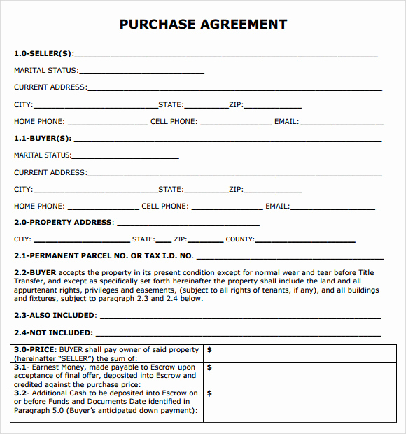 Simple Land Purchase Agreement form Best Of Purchase Agreement 7 Free Samples Examples format