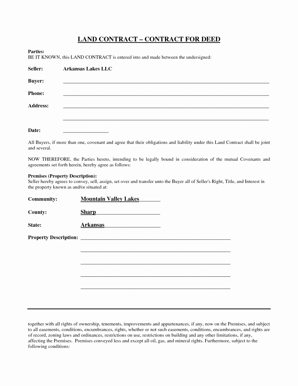 Simple Land Purchase Agreement form Best Of Simple yet Best Blank Land Contract form for Deed with