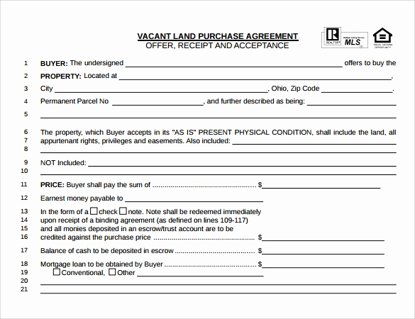 Simple Land Purchase Agreement form Fresh Land Purchase Agreement Template 17 Download Free