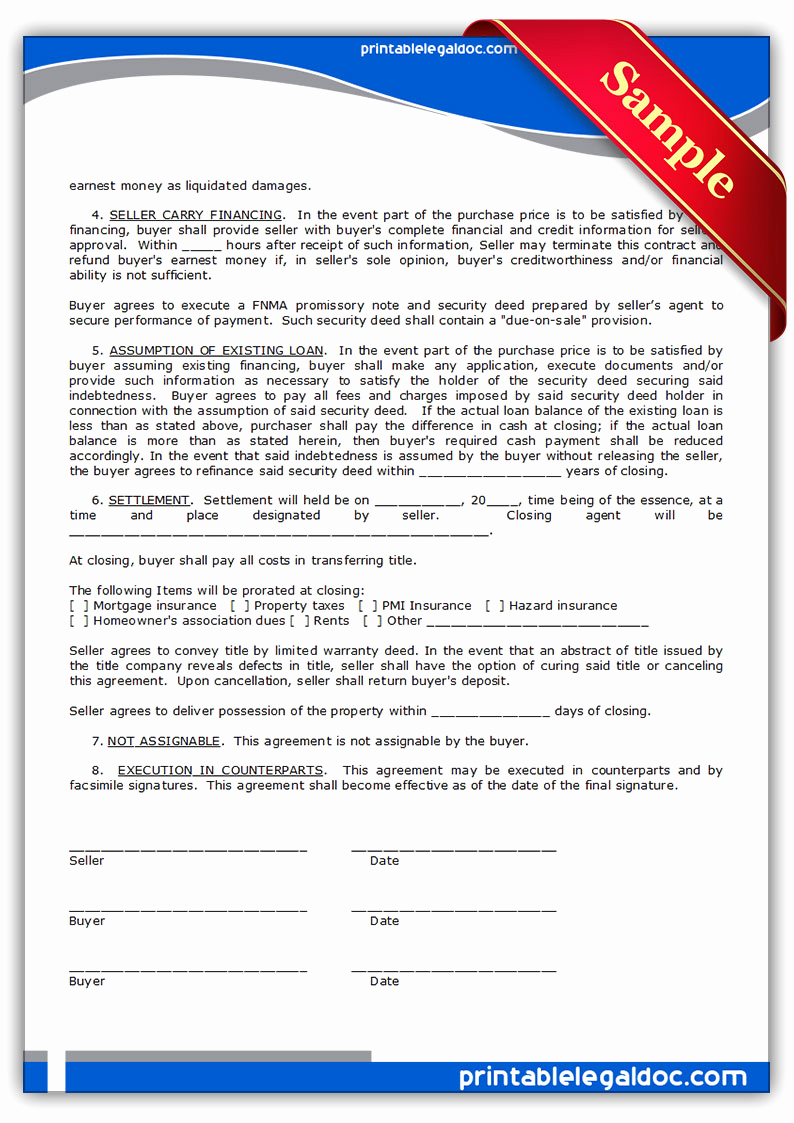 Simple Land Purchase Agreement form New Free Printable Contract to Sell Land Contract form