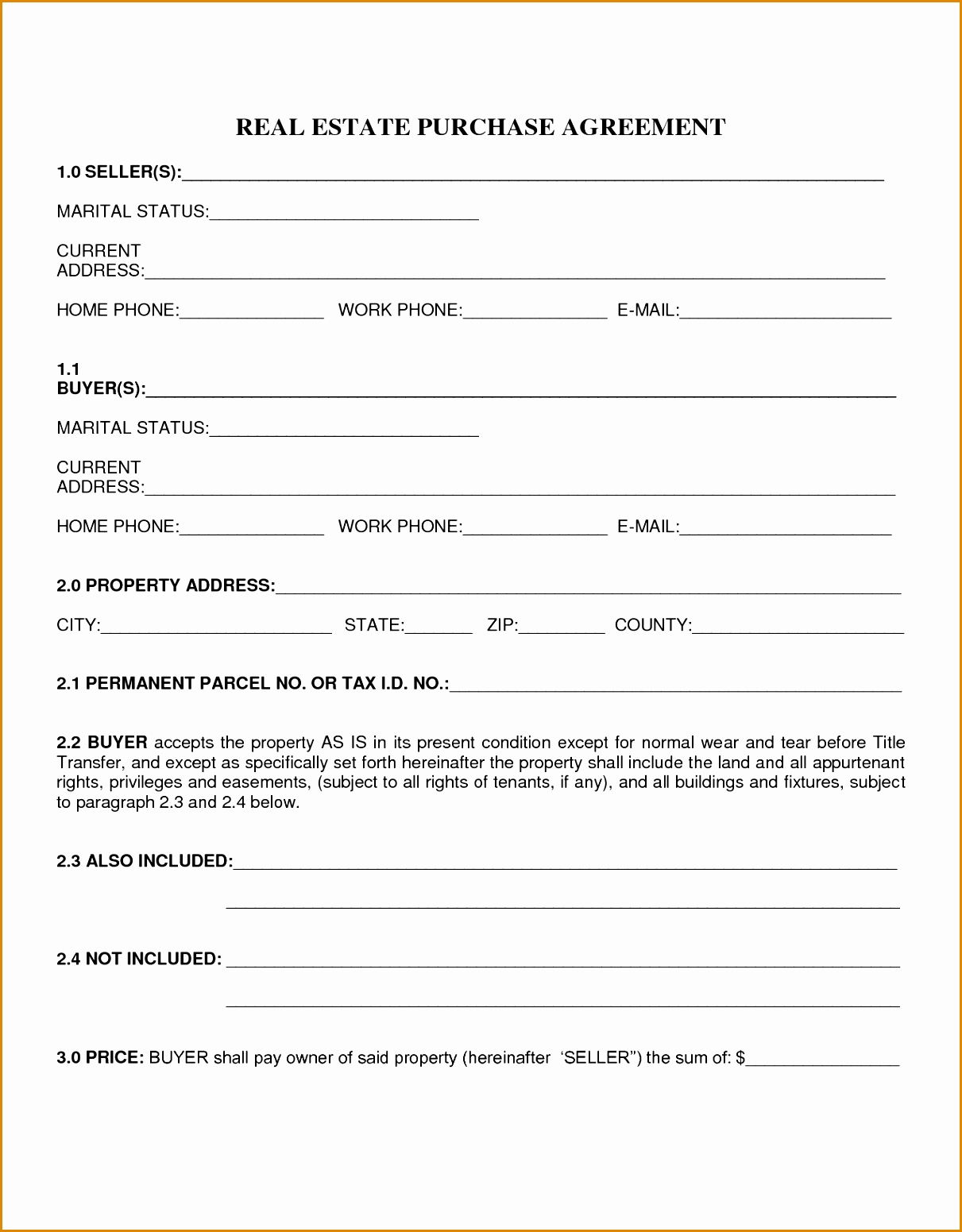 Simple Land Purchase Agreement form New Simple Real Estate Purchase Agreement