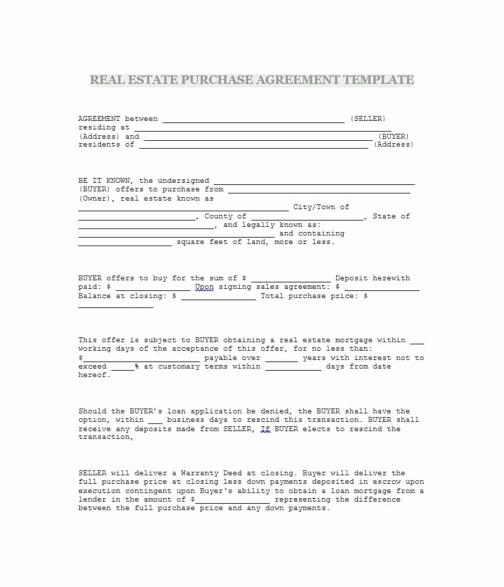Simple Land Purchase Agreement form Unique 37 Simple Purchase Agreement Templates [real Estate Business]
