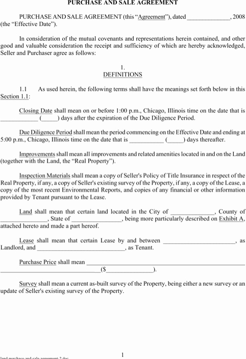 Simple Land Purchase Agreement form Unique Land Purchase and Sale Agreement