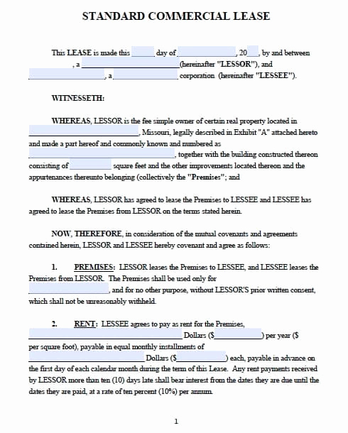 Simple Lease Agreement Pdf Unique Free Missouri Mercial Lease Agreement – Pdf Template
