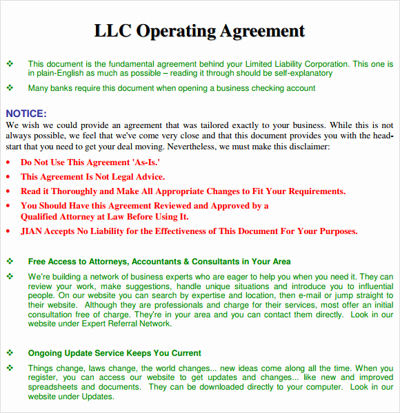 Simple Llc Operating Agreement Awesome 10 Sample Operating Agreements – Pdf Word