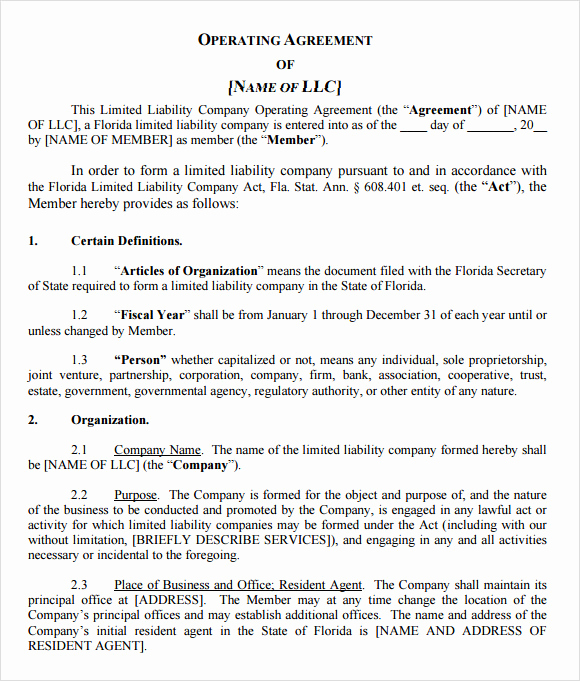 Simple Llc Operating Agreement Awesome 9 Sample Llc Operating Agreement Templates to Download