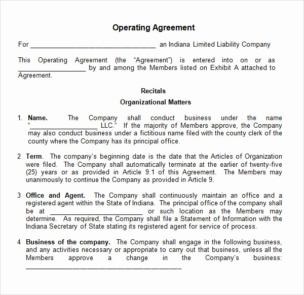 Simple Llc Operating Agreement Awesome Operating Agreement Sample – Emmamcintyrephotography