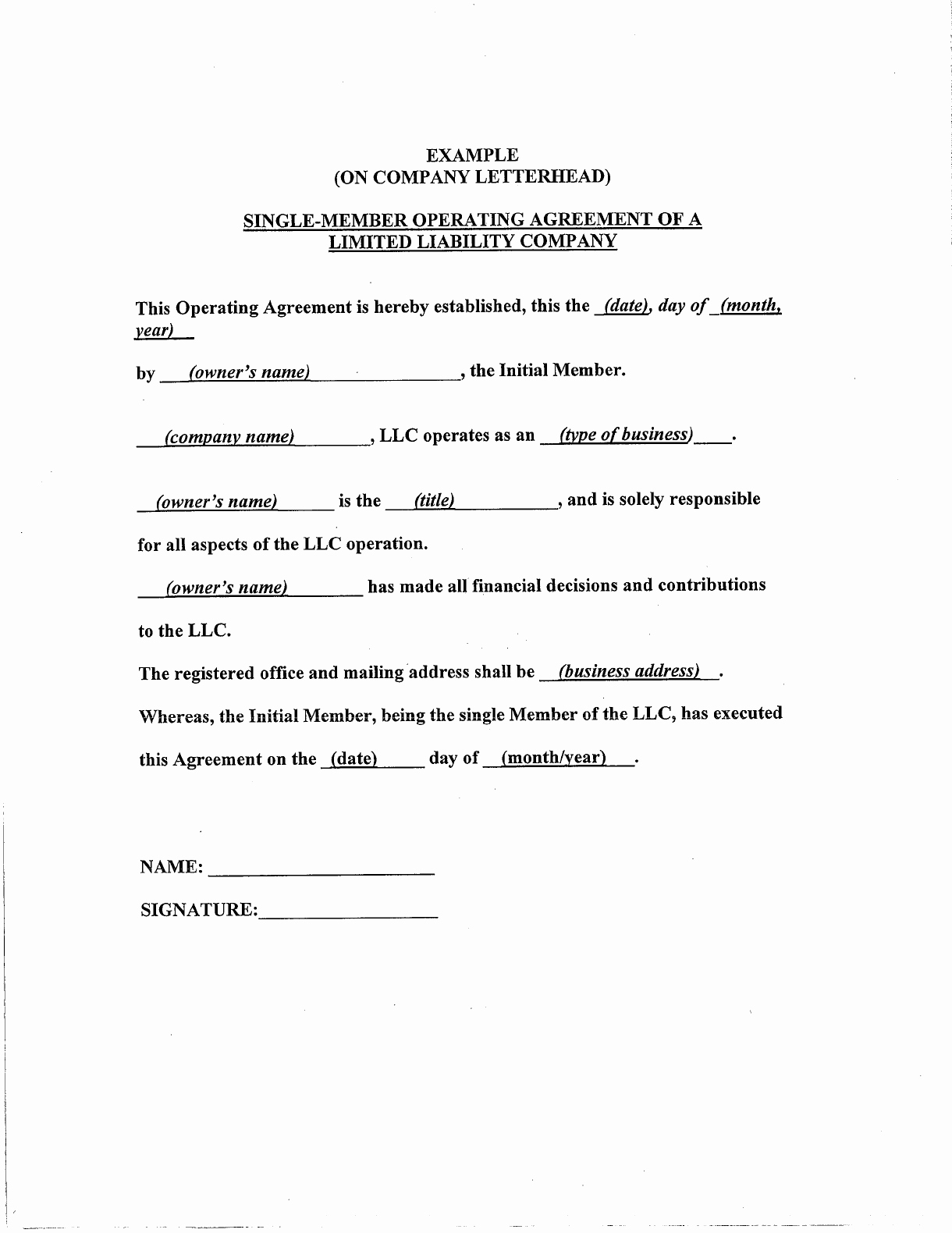 Simple Llc Operating Agreement Awesome Simple Llc Operating Agreement Template Edit Fill Sign