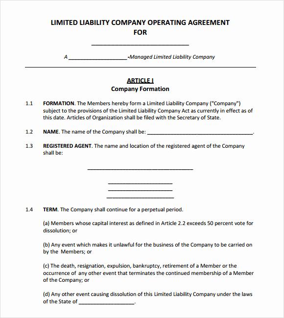 Simple Llc Operating Agreement Elegant 10 Sample Operating Agreements – Pdf Word