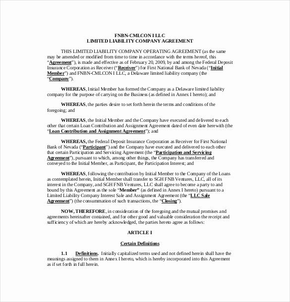 Simple Llc Operating Agreement Fresh 14 Operating Agreement Templates – Sample Example