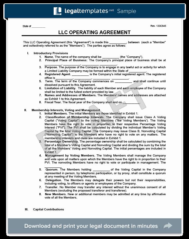 Simple Llc Operating Agreement Fresh Llc Operating Agreement Template