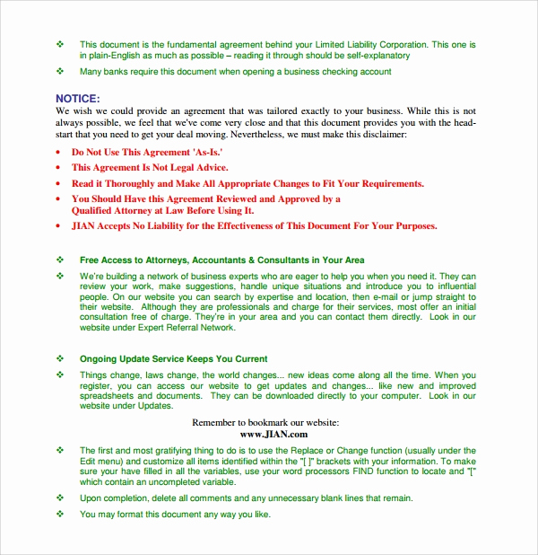 Simple Llc Operating Agreement Fresh Sample Business Operating Agreement 7 Free Documents