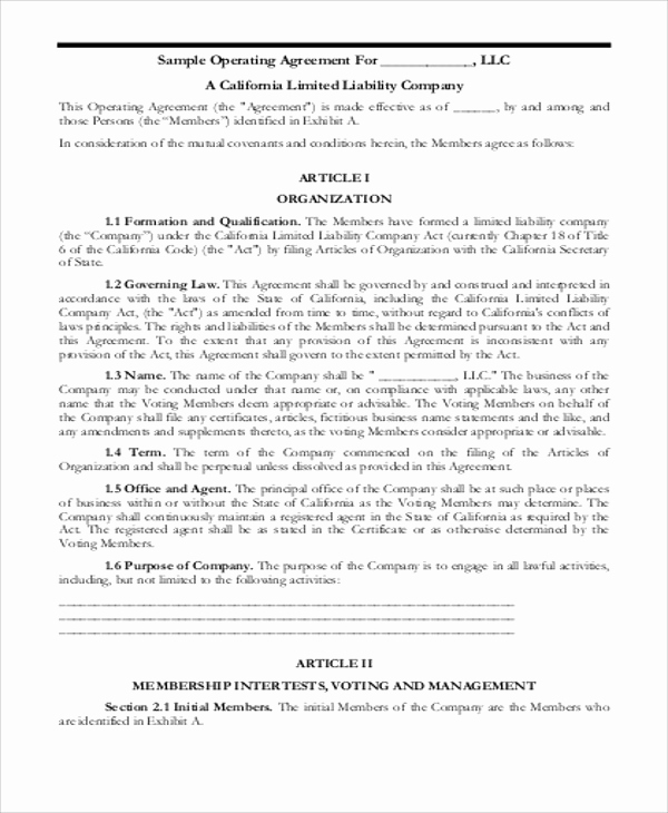 Simple Llc Operating Agreement Inspirational 8 Sample Business Operating Agreements