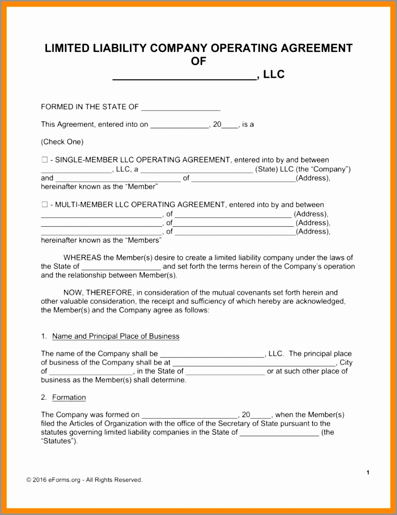 Simple Llc Operating Agreement Lovely 12 Simple Operating Agreement Template Yueur