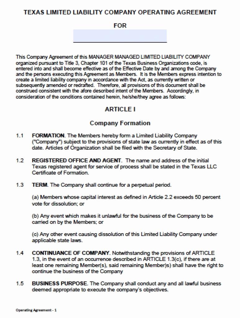 Simple Llc Operating Agreement New Simple Llc Operating Agreement Template Free Printable