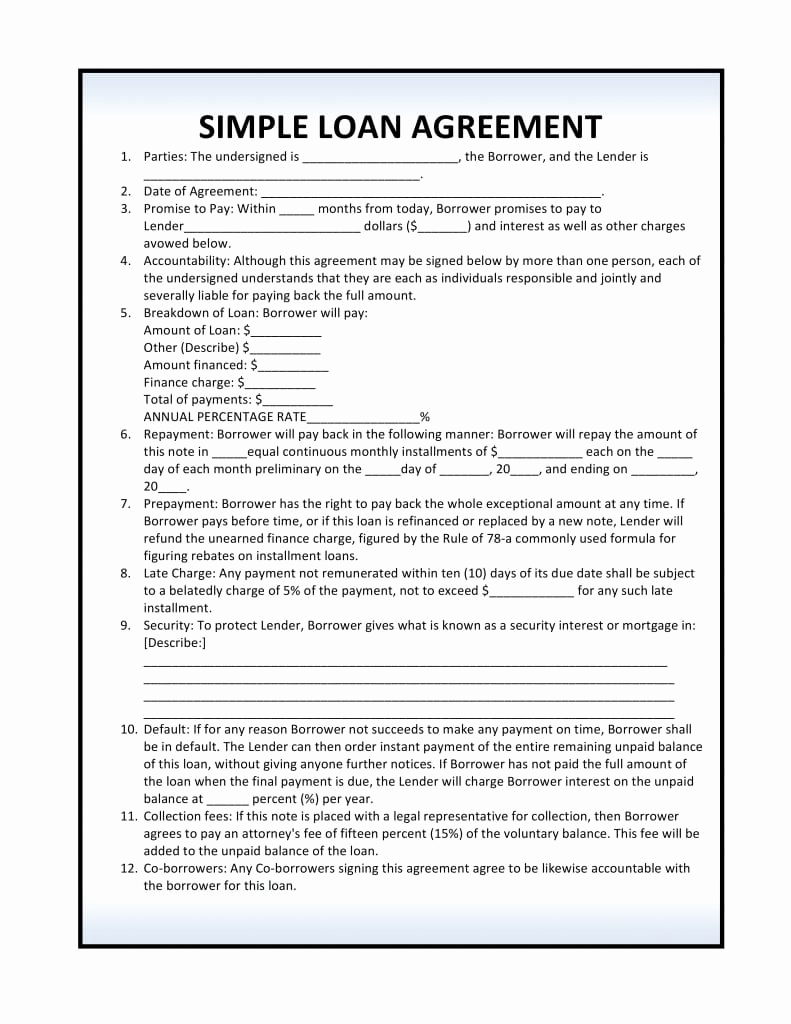 Simple Loan Agreement Pdf Awesome Free Simple Loan Agreement Pdf Template