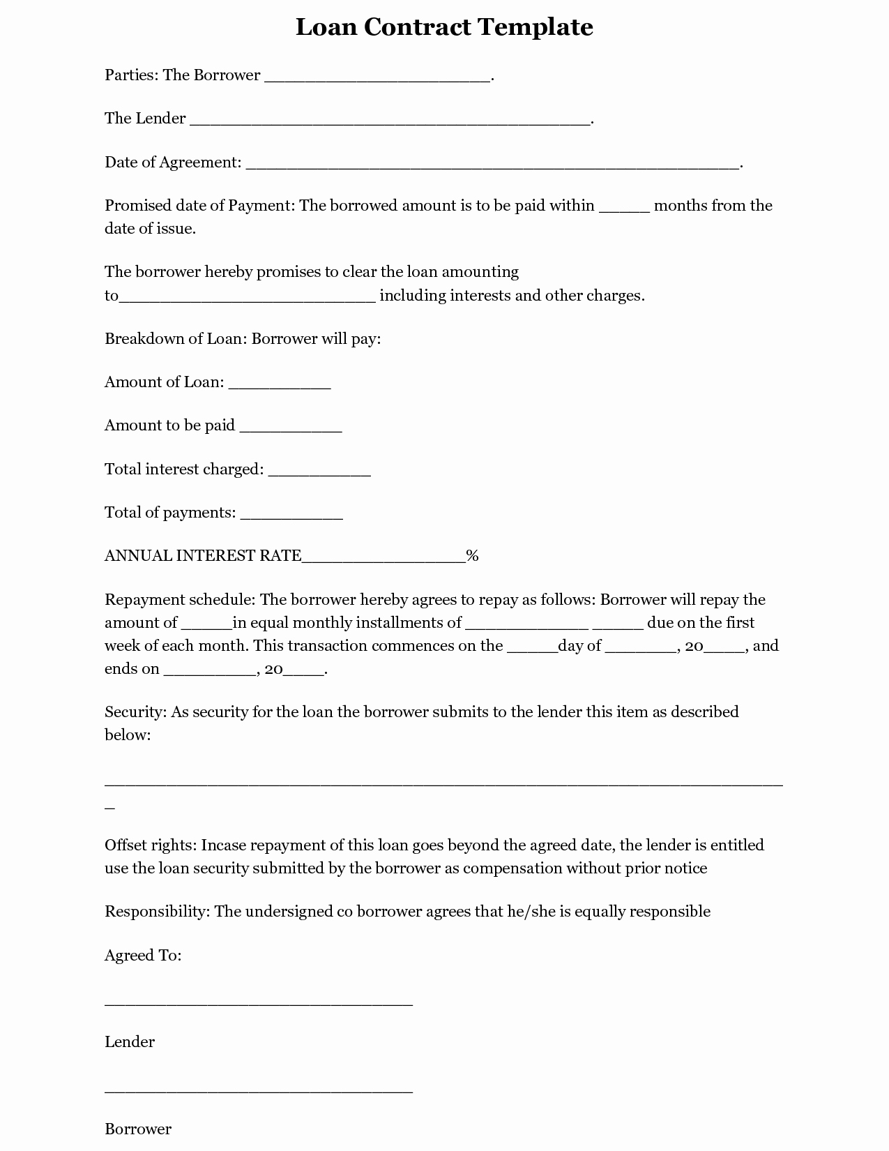 Simple Loan Agreement Pdf Awesome Simple Loan Agreement