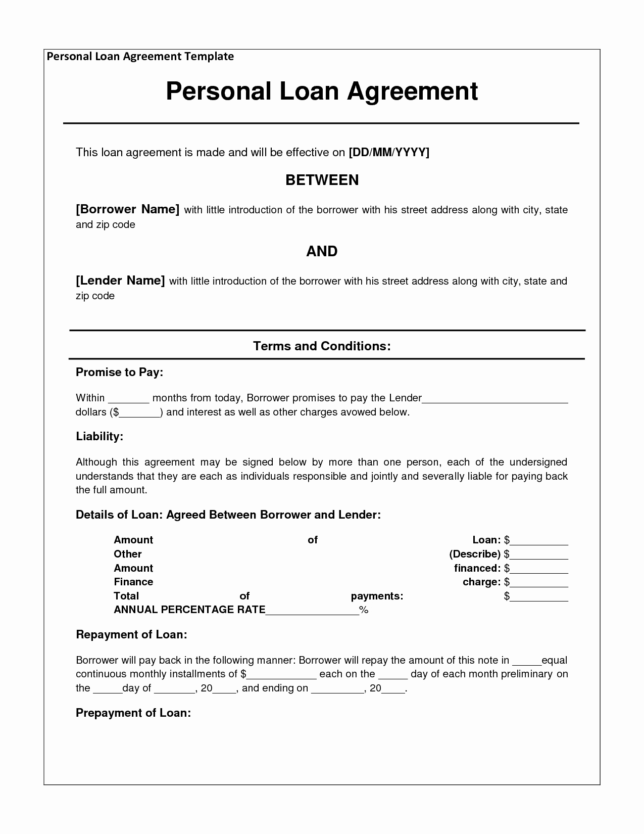 Simple Loan Agreement Pdf Elegant Free Personal Loan Agreement form Template $1000