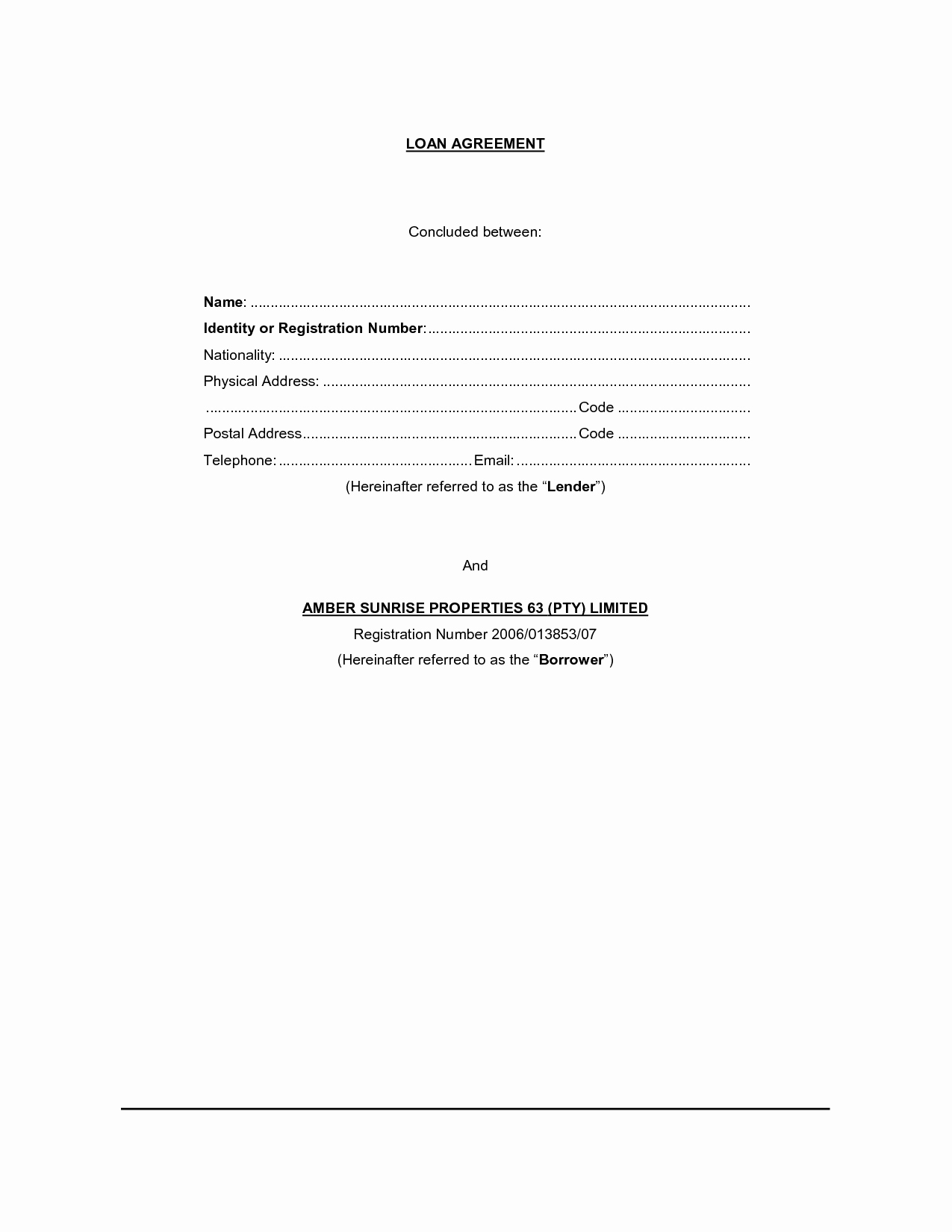Simple Loan Agreement Pdf Fresh Free Printable Loan Contract Template form Generic