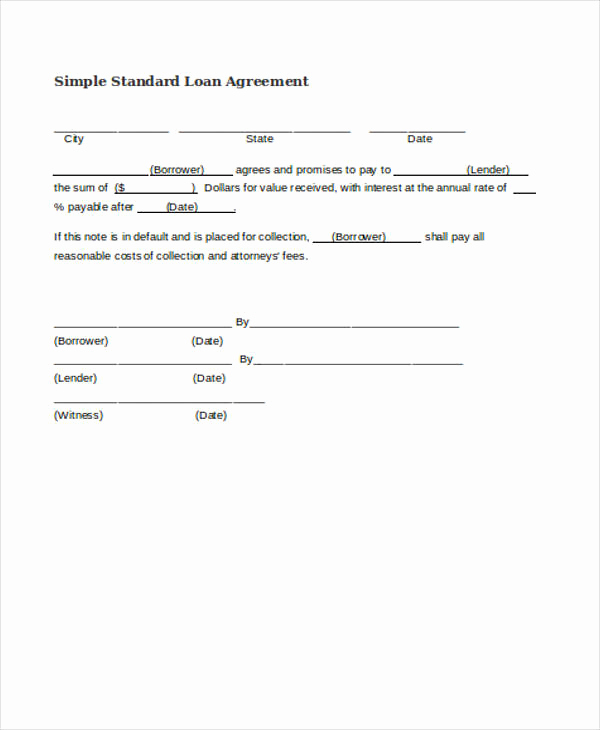 Simple Loan Agreement Pdf Lovely Free Loan Agreement form
