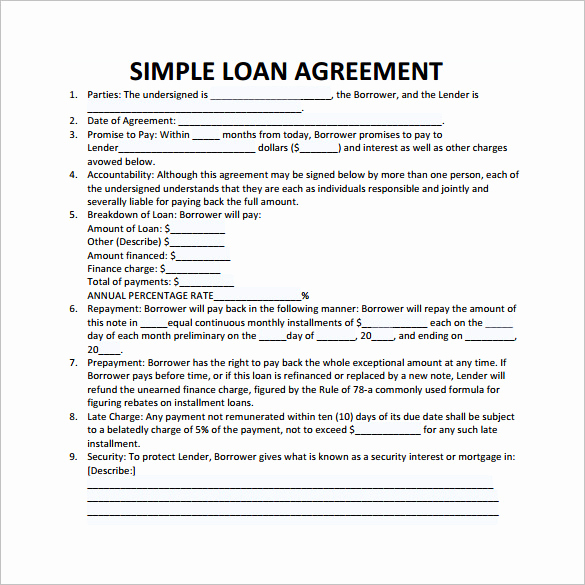 Simple Loan Agreement Pdf New Loan Contract Template – 20 Examples In Word Pdf