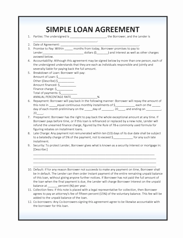 Simple Loan Agreement Pdf Unique Download Simple Loan Agreement Template Pdf Rtf