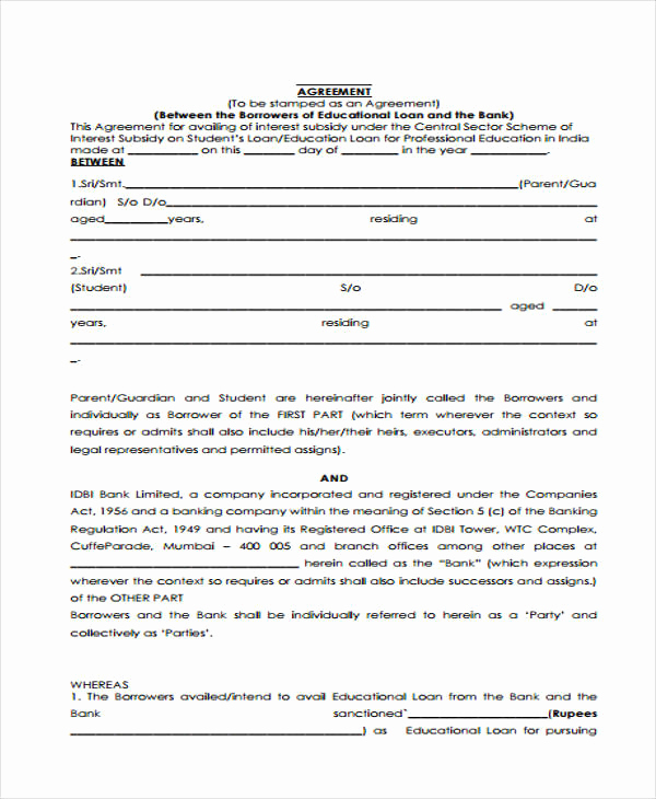 Simple Loan Agreement Pdf Unique Loan Agreement form Template