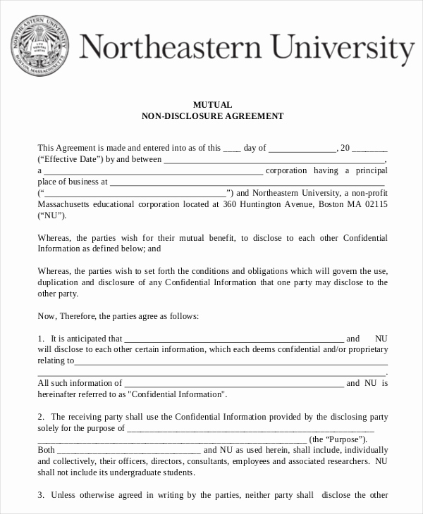 Simple Non Disclosure Agreement Awesome Mutual Non Disclosure Agreement form – 10 Free Word Pdf