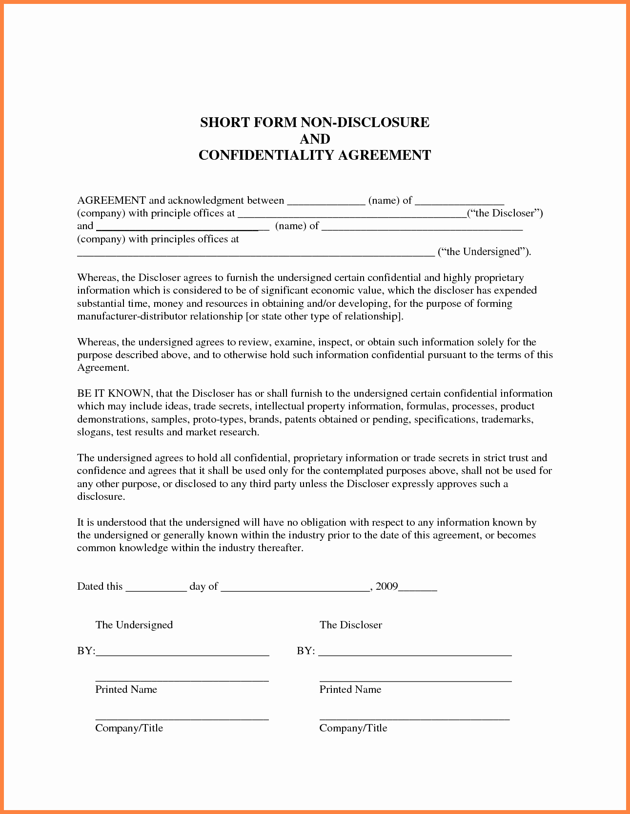 Simple Non Disclosure Agreement Beautiful 7 Generic Non Disclosure Agreement Template