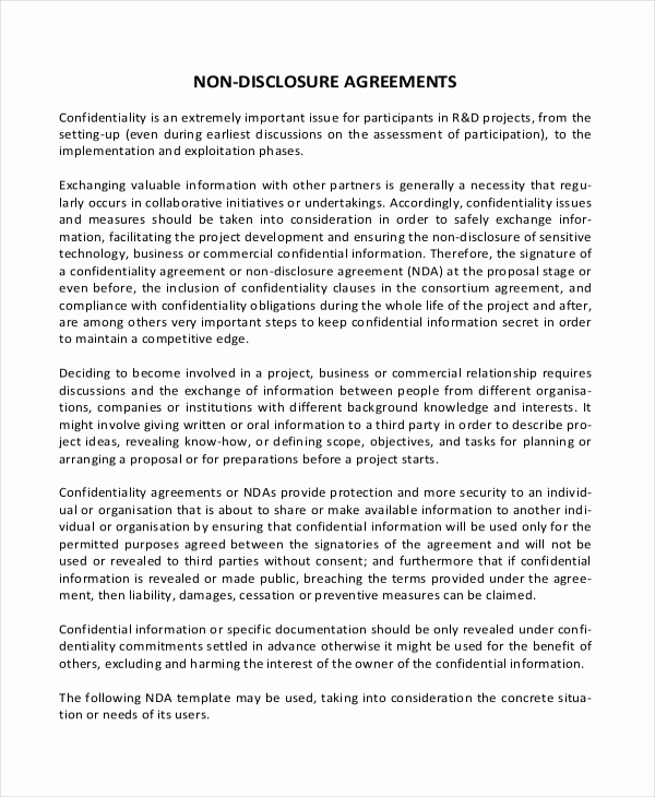 Simple Non Disclosure Agreement Beautiful Simple Non Disclosure Agreement form – 13 Free Word Pdf