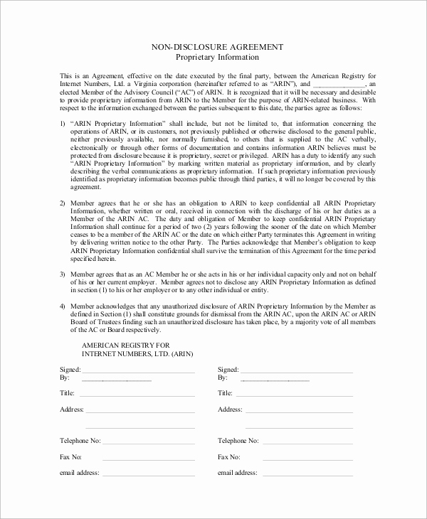 Simple Non Disclosure Agreement Best Of 10 Sample Non Disclosure Agreements In Pdf
