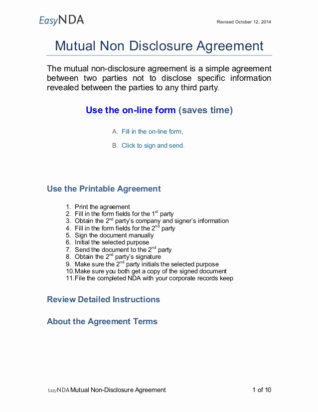 Simple Non Disclosure Agreement Best Of Easynda Mutual Non Disclosure Agreement Printable V1