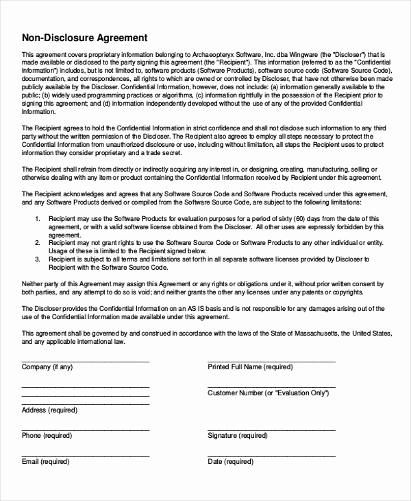 Simple Non Disclosure Agreement Fresh Simple Non Disclosure Agreement form – 13 Free Word Pdf