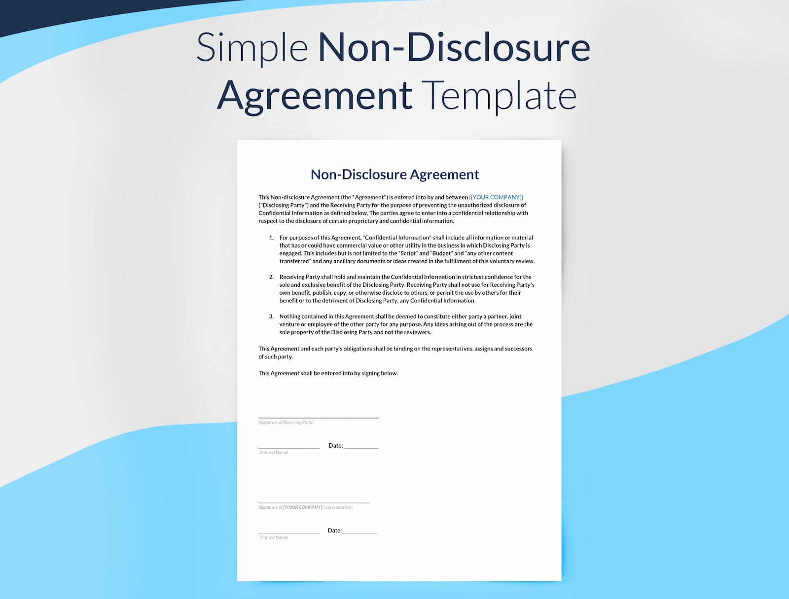 Simple Non Disclosure Agreement Luxury Non Disclosure Agreement Template Free Download