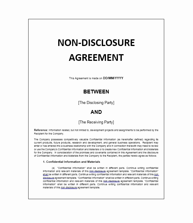 Simple Non Disclosure Agreement New 40 Non Disclosure Agreement Templates Samples & forms