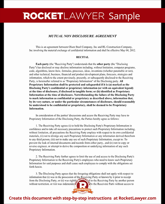 Simple Non Disclosure Agreement New Mutual Non Disclosure Agreement Nda Template Mutual