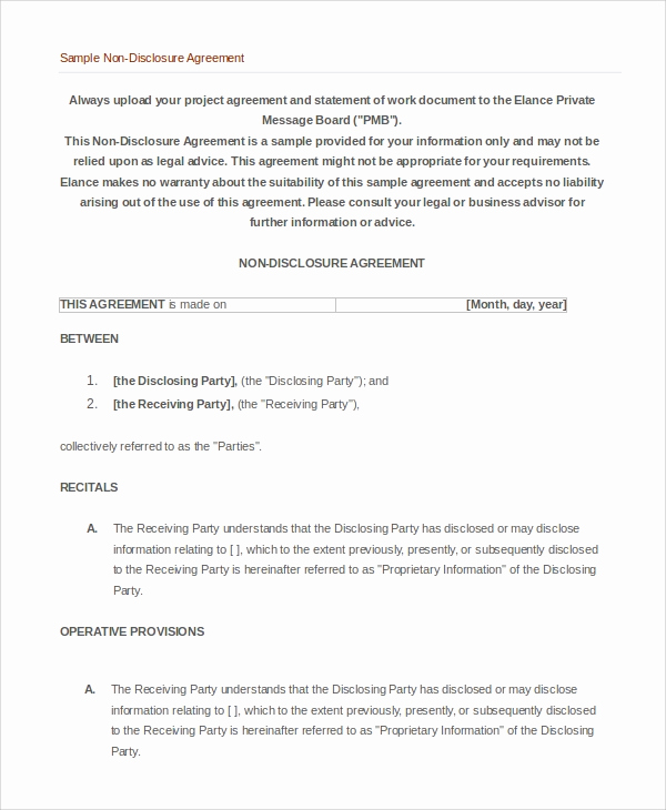 Simple Non Disclosure Agreement Unique 7 Non Disclosure Agreement Examples Templates