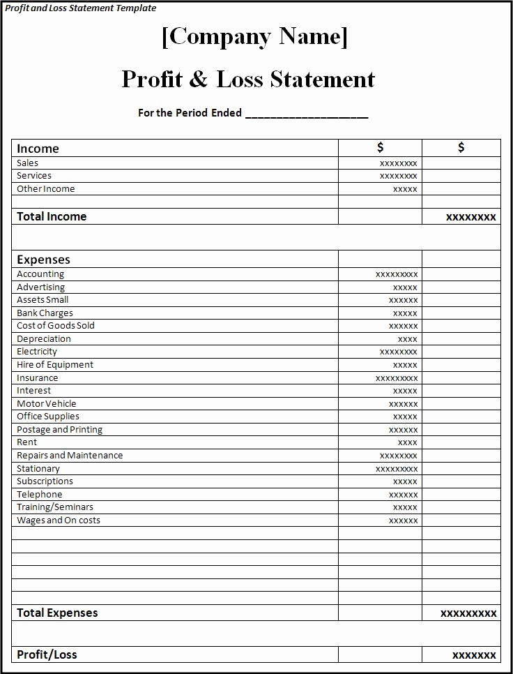 Simple Profit and Loss Statements Lovely Profit and Loss Statement Template