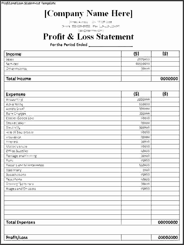 Simple Profit and Loss Template Best Of 8 Profit and Loss Template Sampletemplatess