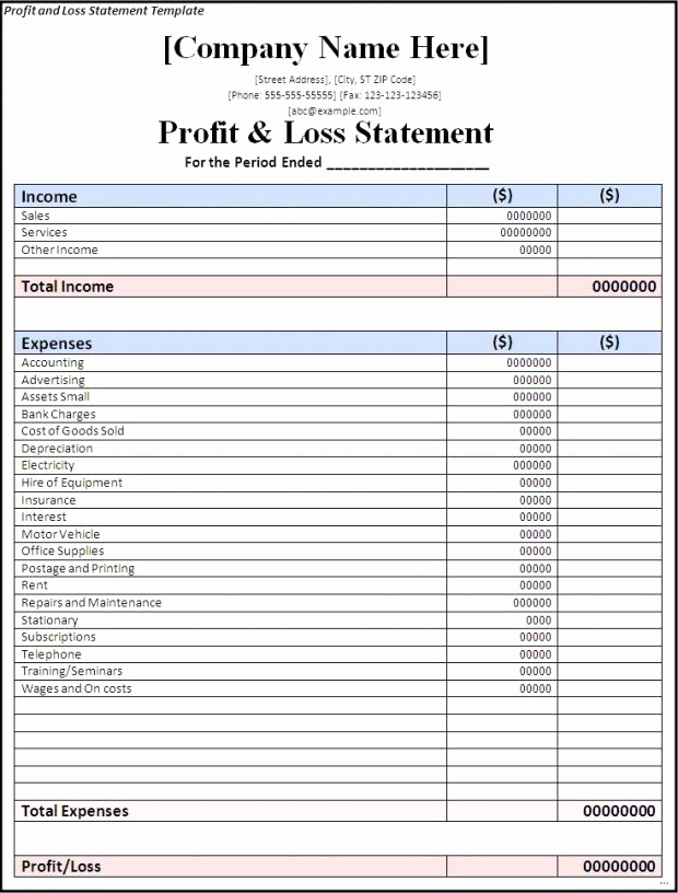 Simple Profit and Loss Template Luxury Simple Profit Loss Spreadsheet New Profit and Loss