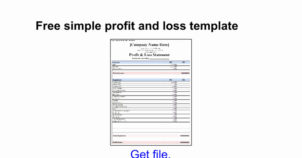 Simple Profit and Loss Template Unique Free Simple Profit and Loss Template Google Docs