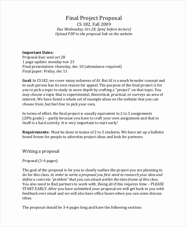 Simple Project Proposal Example Inspirational Project Proposal Example